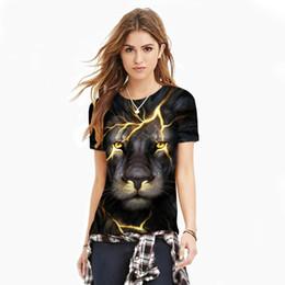 Wholesale lion sweater online – oversize 2018 New fashion D crack lion short sleeved digital printing Slim men shirt sports breathable T shirt men s round collar bottom sweater