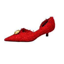 Wholesale New Kitten Heels pointed shoes Woman linen Woolen Woven Red Low heel Pumps Knife Metal Button Decoration High Heel Shoes