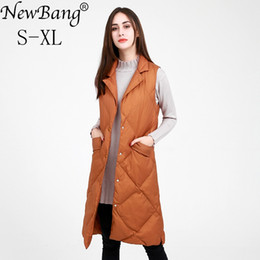 down vest women long NZ - NewBang Brand Women's Long Vest Ultra Light Down Vests Women Female Down Coat Long Sleeveless Turn-down Collar Jacket