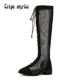 Chinese  2018 Spring Summer women boots Sexy see through air mesh motorcycle knee high boots Fashion cross-tied gladiator sandals shoes manufacturers