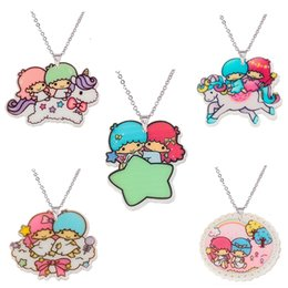 little twin stars wholesale Canada - whole saleKawaii Cartoon Little Twin Stars Acrylic Pendant Necklace For Girls Silver Chain Flatback Resin Children's Necklaces & Pendants