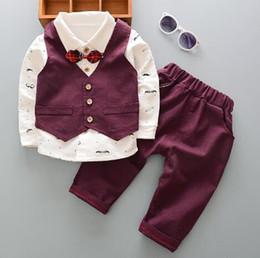 Christening Suits Australia - 0-4 Years Kids Baby Boy Clothes Set Birthday Christening Cloth Infant Boys Formal Wedding Clothing Suit Vest+T-shirt+Pant 3PCS