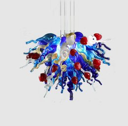 ul light fixture UK - Blue Modern Art Decor Flower Pendant Light Style Hand Blown Murano Glass Hotel Chandelier Lighting Led Bulbs Luxury Lighting Fixtures