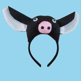 pig costumes 2019 - Children Kids Boy Girl 3D Pig Ear Headband Tail Tie Claws Gloves Props Animal Cosplay Costume Halloween Party Favor disc
