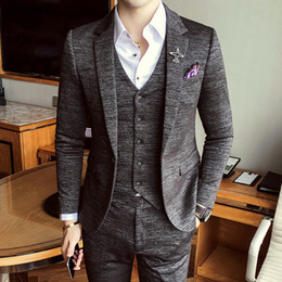 British Slim Fit Suits NZ - 2017 Luxury New Arrival Autumn Formal Mens Suits Wedding Groom Costume Homme Slim Fit British Decent Dinner Suit Grey Blue S18101903