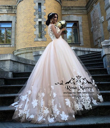 $enCountryForm.capitalKeyWord Australia - Modest Plus Size Country Wedding Dresses 2019 A Line 3D Lace Floral African Arabic Vintage Lace Cheap Beach Wedding Bridal Gowns