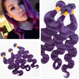 Discount pretty brazilian human hair - Pretty Purple Color Body Wave Hair Weft Extensions 3Pcs Lot Unprocessed Brazilian Virgin Human Hair 3Bundles Weaves