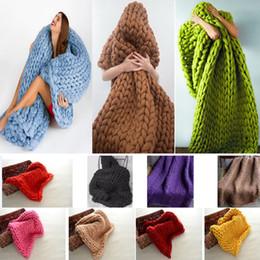 Linen bLankets online shopping - 60 cm Polyster Knitted Blanket Handmade Crochet Linen Woolen Bed Sofa Plane Warm Blanket In Photo Christmas Gifts HH7