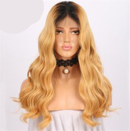 blonde lace wig european 2019 - Ombre full lace human hair wig remy hair Brazilian body wave two tone Blonde #1B 27 human hair wig with free part babyha