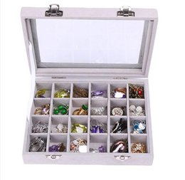 Wood pieces necklaces online shopping - NEW Grids Velvet Jewelry Box Rings Earrings Necklaces Makeup Holder Case Organizer Women Jewelery Storage