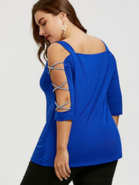 b6c0c558cc0db PlusMiss Plus Size 5XL Sexy Cut Out Cross Sleeve Tunic Top Women Clothing Cold  Shoulder Blouse Large Size Summer 2018 Blusas