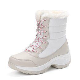 32c85f6a77b9 plush fluffy shoes 2019 - Lace Up Fur Snow Boots For Women Cross Tied  Platform Thick