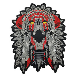 bbe790e64788d ARGE HORNED CHIEF DEATH SKULL INDIAN Motorcycle Patch Biker Vest Patch Big  Large Size punk Iron on Sew on MC patch Applique Free Shipping