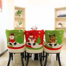 Deer Chair Australia - 1Pc Lovely Christmas Chair Covers Santa Claus Deer Snowman Doll Christmas Dining Room Chair Cover Home Party Decoration