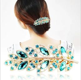 $enCountryForm.capitalKeyWord Canada - Beauty Women Fashion Hair Clip Leaf Crystal Rhinestone Barrette Hairpin Headband hair accessories