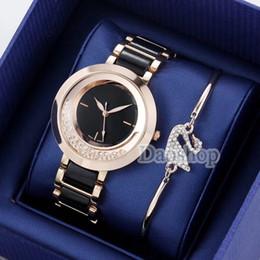 012e9b36a Marca de moda swarovski Mujeres Reloj de Oro dial de acero Señoras Cadena  reloj de pulsera Calidad de lujo diseñador de ocio Reloj de cuarzo relojes  gs