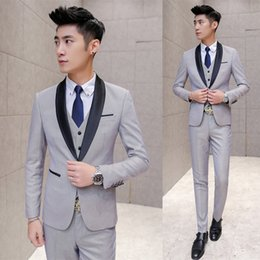 $enCountryForm.capitalKeyWord NZ - New Grey Black Shawl Lapel Wedding Suits For Men 3Pieces(Jacket+Pants+Vest+Tie) Trajes De Hombre Tuxedo Suit Men Blazer