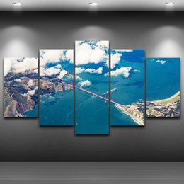 Ocean Canvas Print Art NZ - Modular HD Printed Home Pictures 5 Pieces Alpine Blue Ocean Landscape Painting Artworks Wall Art Decor On Canvas Poster Frame