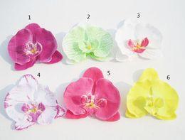 Bridal Fabric Flower Hair Clips NZ - 12pcs Lot 4'' Flowers Hair Clips Butterfly Orchid Silk Flower Brooch Fabric Flower Bridal Hair Bows Wedding Children Hair Accessories
