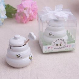 "$enCountryForm.capitalKeyWord UK - 2018 Newest ""Meant to Bee"" Ceramic Honey Pot with Wooden Dipper Wedding Favors Free shipping #FJ463"