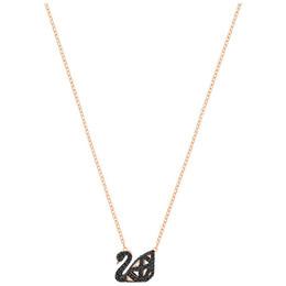 e6452d71c026 Nuevo Hot S925 de plata de ley calado de doble cara negro cisne de cristal  colgante collar de las señoras de moda clavícula de plata corto rosa cadena  de ...