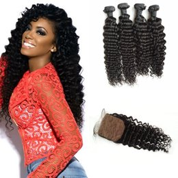 Discount tangle free hair extensions - 4*4inch Virgin Deep Wave Silk Base Closure With Bundles Unprocessed Human Hair Extensions Tangle Free 8-30inch LaurieJ H