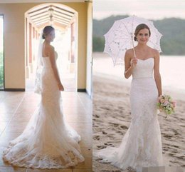 beach wedding dresses trumpet NZ - 2019 Beach Wedding Dresses Mermaid Lace Applique Sweetheart Bridal Wedding Gowns Sleeveless Long Sweep Trumpet Dress