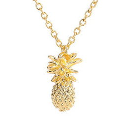 Discount designs pendants gold for girls - Fahion Design silver gold color Pineapple Pendant Necklace For Women Girl Vintage Fruit Cute Link Chain Necklace Jewelry