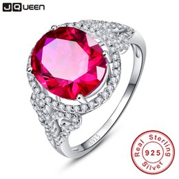 Pigeon Rings Australia - JQUEEN Vintage for Women Fine Gem 6.5Ct Oval Pigeon Blood Red Ruby Ring Cocktail Genuine Real Pure Solid 925 Sterling Silver