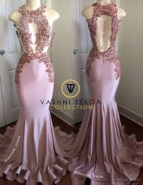 Beaded halter floral dress online shopping - Dusty Pink Hollow Out Sexy Prom Dresses Real Images Embroidery D Floral Flowers Applique Backless Mermaid Evening Gowns