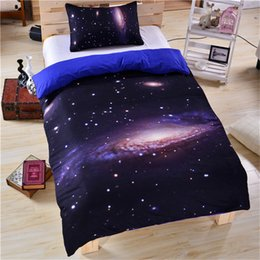 Discount galaxy bedding full size - Galaxy Bedding Set Universe Outer Space Themed 3d Print Duvet Cover with Pillowcases Soft Polyester Bedlinen Twin Full Q