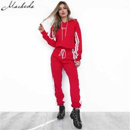 5dd8deeab Fashion 2018 Autumn 2 Piece Set Women Tracksuit Sportswear Casual White Red  Sweat Pants Hooded Cropped Sweatshirt Hoodie