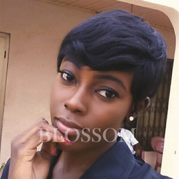 Discount straight hair cuts - Short Pixie Cut brazilian human hair wigs glueless full lace lace front cut human hair wigs for black women