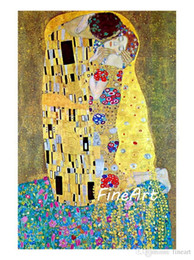 Kiss Figures NZ - hanpainted oil painting reproduction of famous artist gustave klimt Kiss canvas painting discount wall decor quotes canvas oil paintings dec