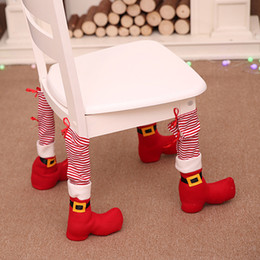 Tree Chair NZ - 2018 New Arrival Christmas Santa Claus Style Table Foot Cover Backrest Chair Cover Set Xmas Party Decoration 763760