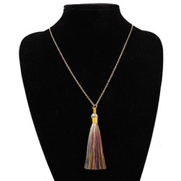 bohemian sweaters women NZ - Bohemian Simple Color Long Tassel Necklace Women Fashion Sweater Chain Geometric Alloy Gold Plating Necklaces Jewelry Accessories Wholesale