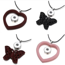 Wholesale Fashion Beauty Heart Butterfly pendant snap necklace rope chain adjustable fit mm snap buttons jewelry DJ0008