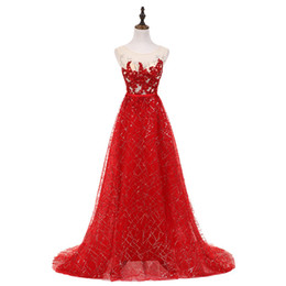 see dress red carpet UK - 2019 Sexy Sccop A-line Sweep Train Evening Dresses Shining Beadings Appliques Red Crystals See Through Back Prom Gowns