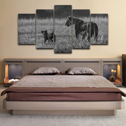 Canvas Photo Prints Australia - Modern Wall Art Painting HD Printed On Canvas Home Decor Pictures 5 Panel Frame Animal Lions Mother And Son Photo Poster PENGDA