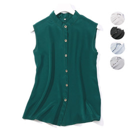 50d8ee52284b66 Women Summer 100% Natural Silk Blouse Real Silk Sleeveless Basic Shirt OL  White Black Grey Top Shirts Blouses for Women