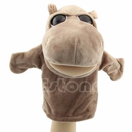 cute puppets UK - Kid Cute Hippo Plush Velour Animals Hand Puppets Chic Designs Learning Aid Toy