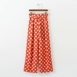 271bb8027009 Orange Polka Dot print long pants Sashes Capris women fashion beach BOHO  maxi bohemian trousers summer holiday Full Length Straight pants
