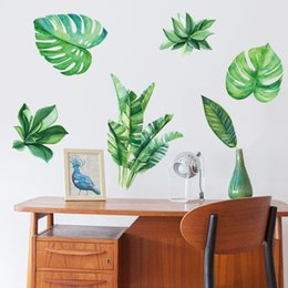 Wholesale Copper Kitchen Australia - Green Plant Wall Stickers Wallpaper Wall Picture Art Vintage Room Home Decor Kitchen Accessories Household Craft Suppllies