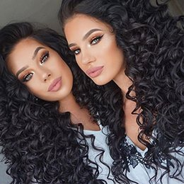 Deep Black Hair Australia - ZhiFan 100% Human Hair Deep Wave Curly 8-22 Inch Long Lace Wigs For Black Women Front Lace Wig