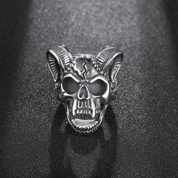 skull rings for boys 2019 - New Drop Ship Casting Evil Damn Skull Vampire Goat Ring For Men Boy Band Party Bull Punk Biker Gothic Fashion Jewelry Wh