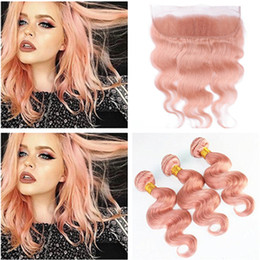 $enCountryForm.capitalKeyWord Canada - Hot Sell Pink Human Hair Bundle Deals 3Pcs With Frontal Body Wave Pure Pink Virgin Hair Weaves With Full Lace Frontal Closure 13x4