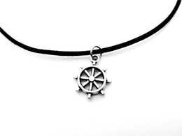 navy pendants NZ - 30pcs Antique silver Seaman Sailor Boat Anchor Rudder Necklace Vintage Nautical Navy Car Steering Wheel Leather Rope Necklaces jewelry