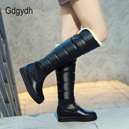 plush strap NZ - Gdgydh 2018 Winter Shoes Warm Women Snow Boots Knee High Black Wedges Fashion Buckle Ladies Wedges Boots Plush Plus Size 43