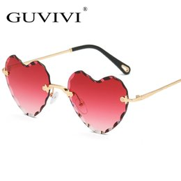 rimless lens shapes UK - New Love Heart Shape Sunglasses Women 2018 Rimless Frame Tint Clear Lens Colorful Sun Glasses Red Pink Yellow Shades