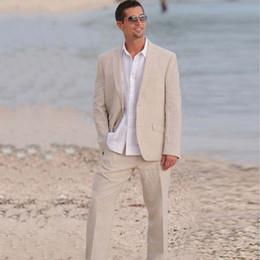Groom suits for beach weddinG online shopping - 2018 Summer Men Suits Beige Linen Blazer Custom Made Tailored Groom Bespoke Wedding Suits For Man Tuxedos Beach Prom Casual Jacket Pants